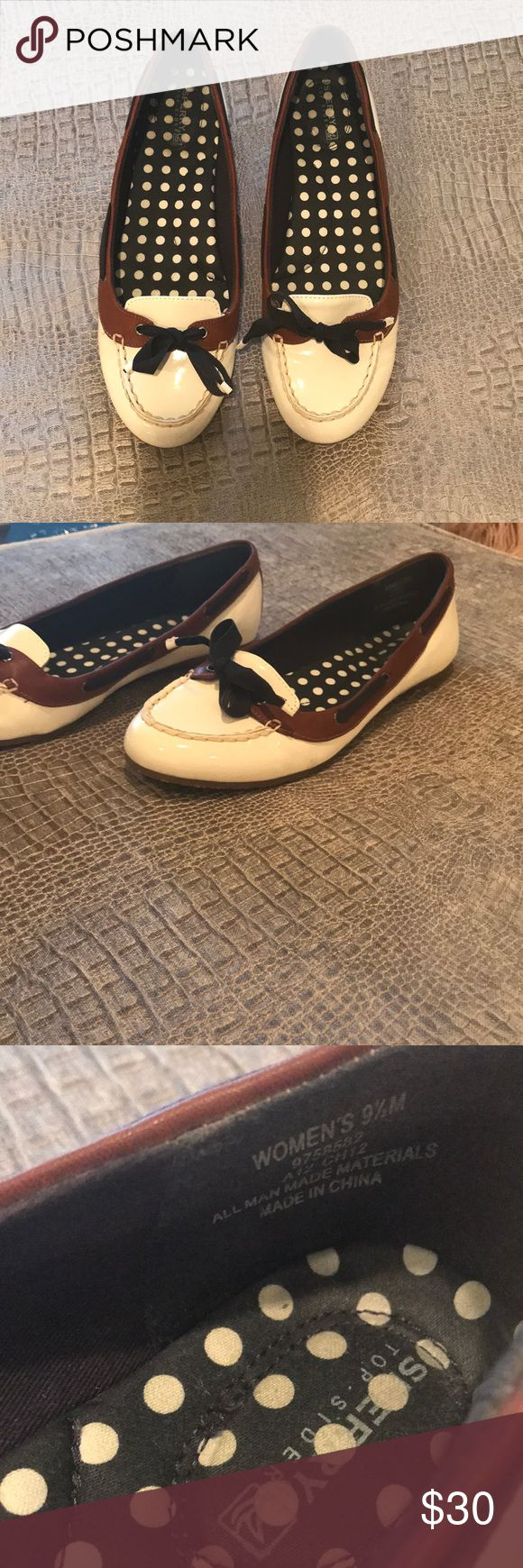 Sperry, women's loafer flats Sperry Top - Sider, women's patent loafers, in white with brown and navy, women's size 9.5. Super cute. Worn once. Padding in arch, very comfy. Sperry Top-Sider Shoes Flats & Loafers