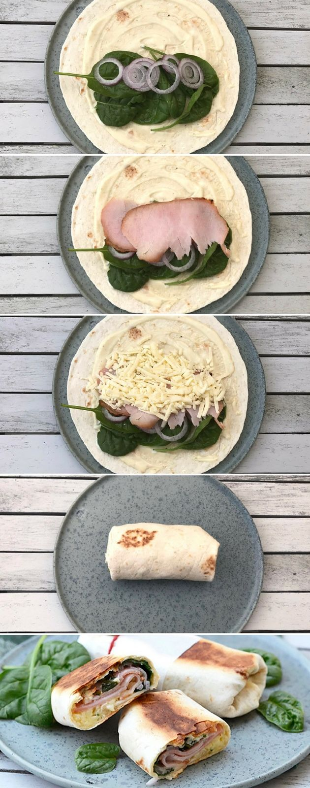 Vildt lækre wraps med skinke, spinat og smeltet ost. Pandekagerne bliver stegt sprøde på panden, så de bliver ekstra gode.