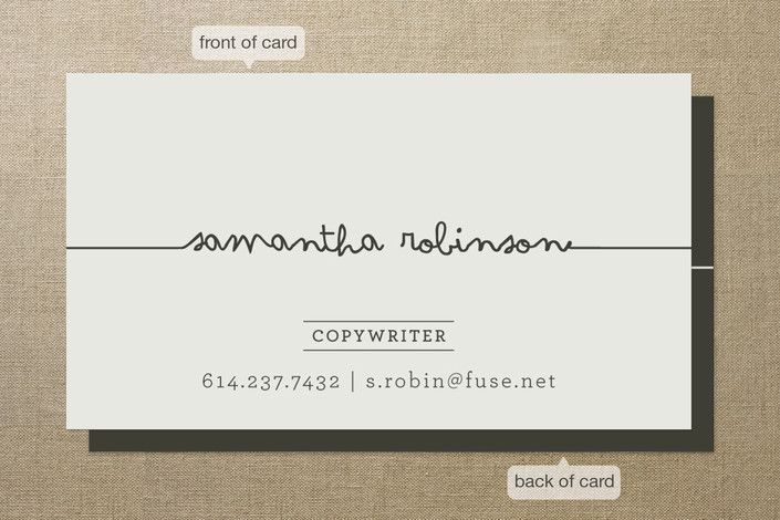 business card - this would be great for a sewer and make it look like thread or even an author like its their signature.