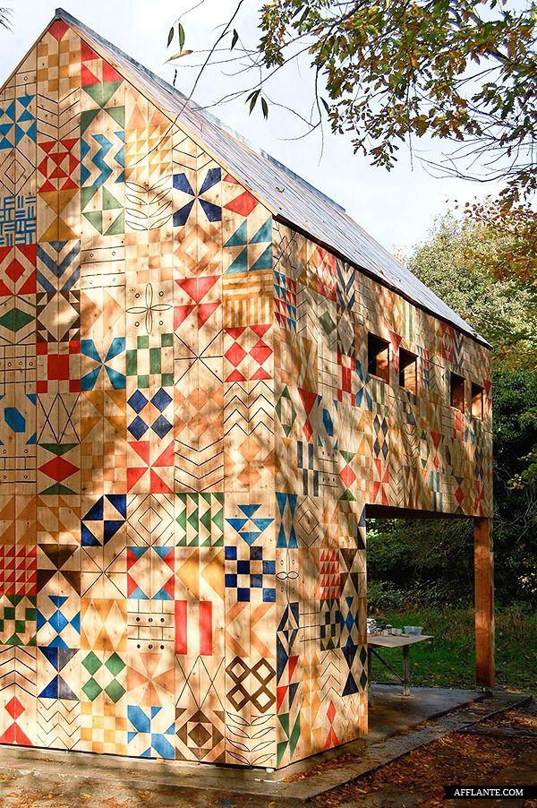 An incredible patterned park building by Studio Weave in Dartford, Kent.