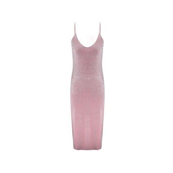 Sexy Velvet Side Slit Hem Camisole V-neck Women Dress ($18) ❤ liked on Polyvore featuring dresses, pink, purple cocktail dresses, cocktail dresses, sexy long dresses, party dresses and long sleeve dresses