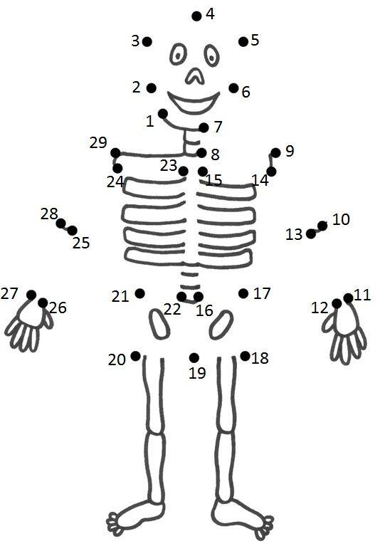 Thema: ziek . Rekenen puntenverbinden skelet