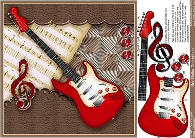 Red Guitar 8in x 8in Decoupage on Craftsuprint designed by Sue Douglas - This easy Decoupage sheet, is from my Floral Collection of designs. The design features a Bright red Electric Guitar with Guitar Music and a Border of Leather top and bottom. The main design will fit an 8in x 8in card blank. This design is just perfect, for any Male or Female occasion! Full instructions are included, and the decoupage is added, in step by step alphabetical order There is also an 8in x 8in Insert PLATE…