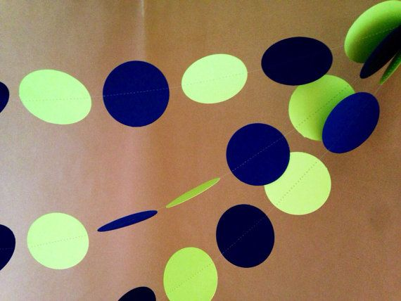 Navy Blue and Lime Green Paper Garland Party by PartyMadePretty, $8.50
