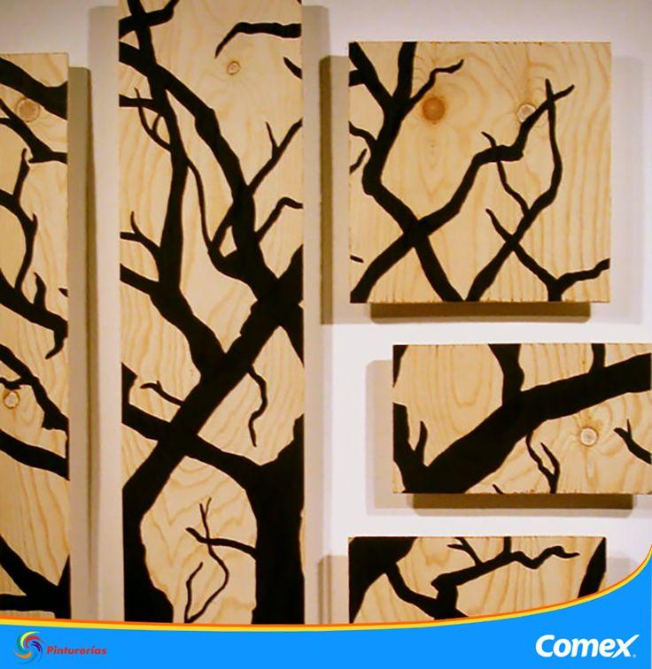 Pinta pequeños cuadros para lograr un concepto creativo y moderno en tu oficina. #HazloTuMismo