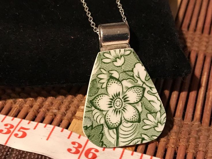 Recycled Broken Johnson Bros. China Necklace, Liberty Tiffany & Co. Pendant #CLyonsDesign #Chain