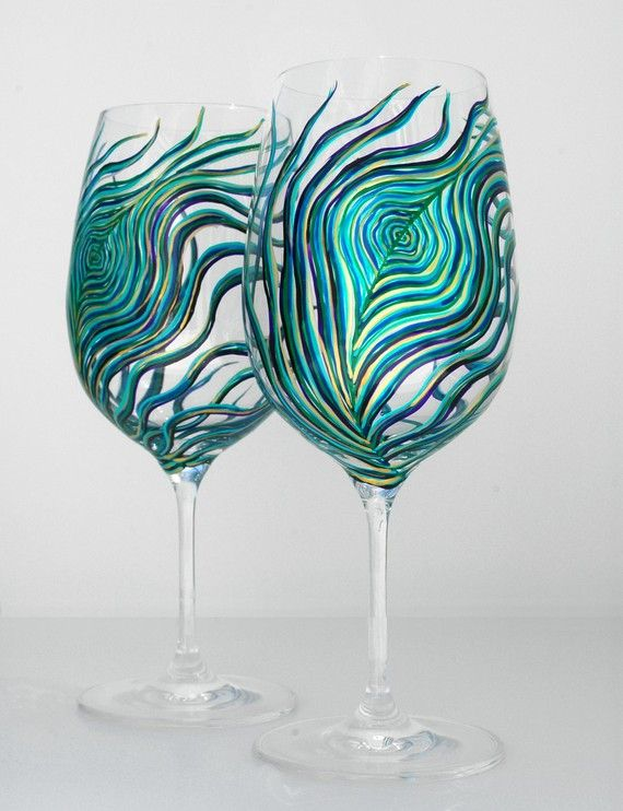 Peacock Painted wine glasses