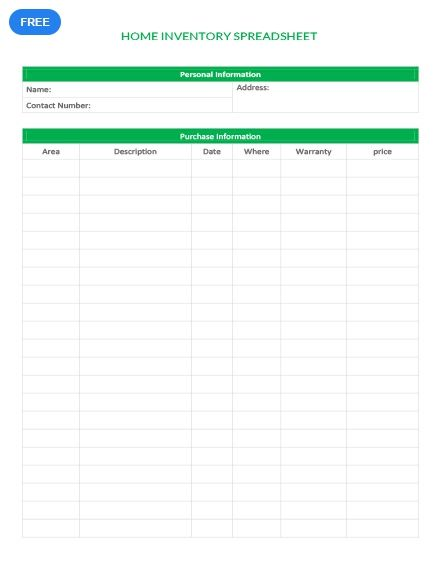 Free Home Inventory Spreadsheet Inventory Templates Designs 2019