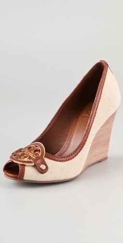 I think I really kinda need these....? Tory Burch Amanda Open Toe Wedge Pumps