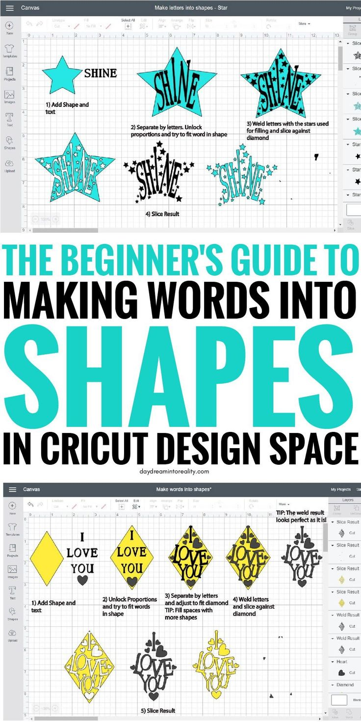 Edit Shapes in Cricut Design Space – Cut Out Text Hello Daydreamers! Shapes are …