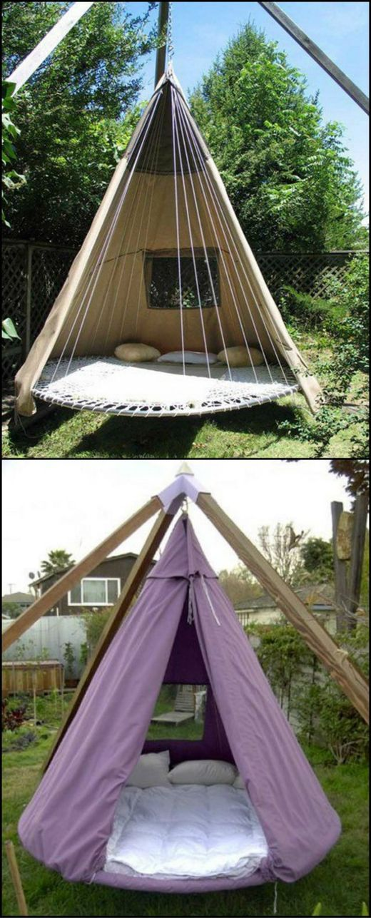 What to do when your trampoline is wrecked beyond repair?  The best solution is to turn it into a circular swing bed! View the full collection of trampoline swing bed inspiration here: http://theownerbuildernetwork.co/jgsh  Would you like to hangout here?