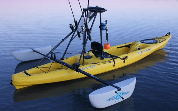 Kayak rigging after market pontoons add stability and can for Fishing kayak anchor