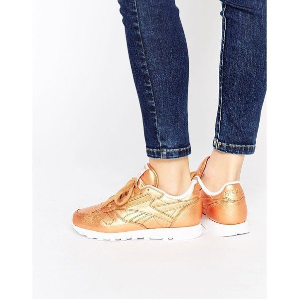 Reebok Classic Leather Bronze Spirit Face Trainers (345 SAR) ❤ liked on Polyvore featuring shoes, sneakers, bronze, bronze shoes, reebok shoes, metallic sneakers, lace up sneakers and metallic leather shoes