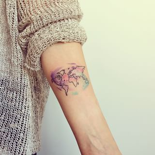 watercolor world map tattoo - Google Search                                                                                                                                                                                 More