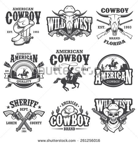 Set of vintage cowboy emblems, labels, badges, logos and designed elements. Wild West theme. Monochrome style