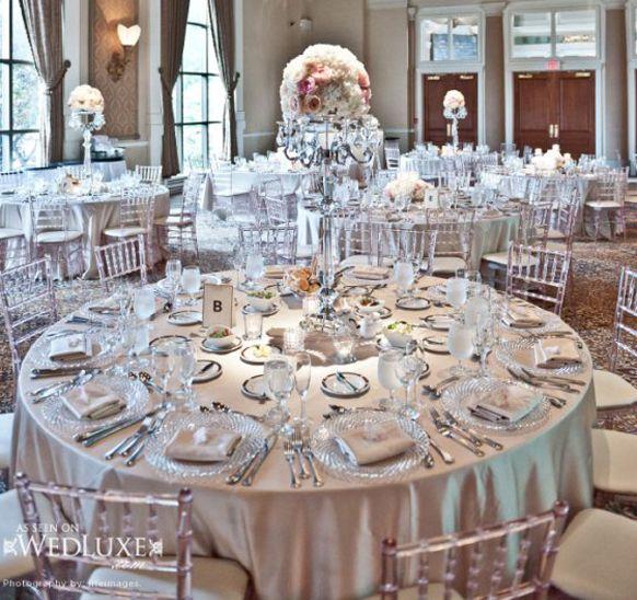 ROMANTIQUE WEDDING RECEPTION DECORATIONS | Silver Wedding Theme Reception Wedding Dress by Pronovias