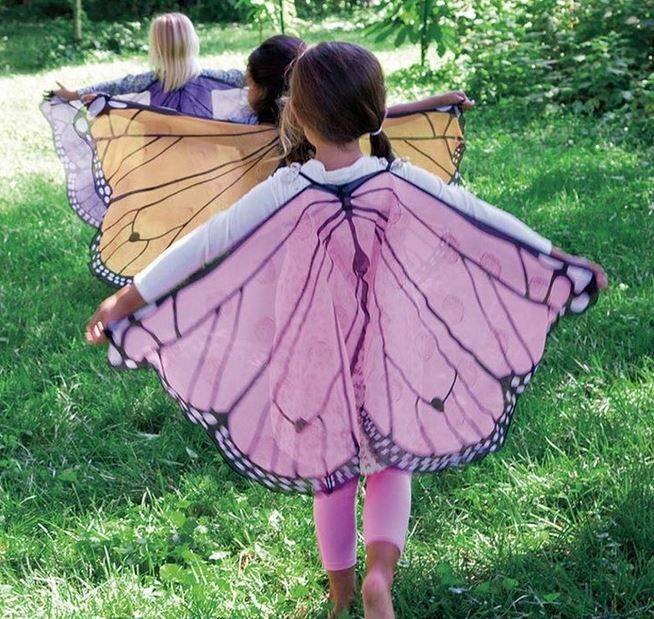 Butterfly Wings. DIY w/ sheer fabric/curtain and permanent marker and attach hair rubber bands to go around the wrists. So fun. Cant wait to make this!