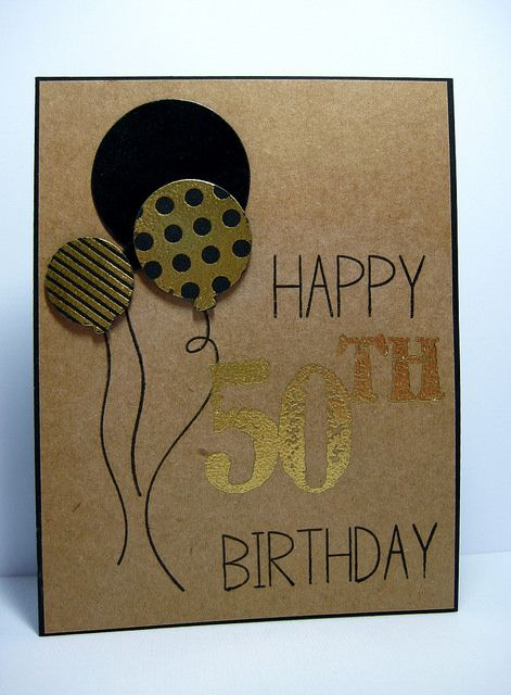 hand crafted masculine birthday card by ima dz2 (Daria) ... kraft with black and metallic gold ... another fab look!!