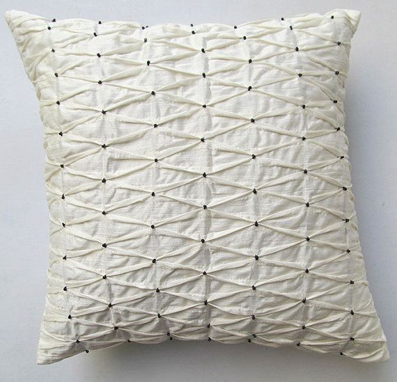 cream pleated pillow with black beads 16 inch textured IN STOCK