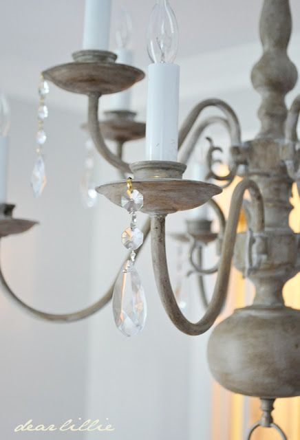 Paris Grey Chalk Paint® and Annie Sloan Soft Dark Wax transforms a dated brass chandelier. Gorgeous results by Dear Lillie!