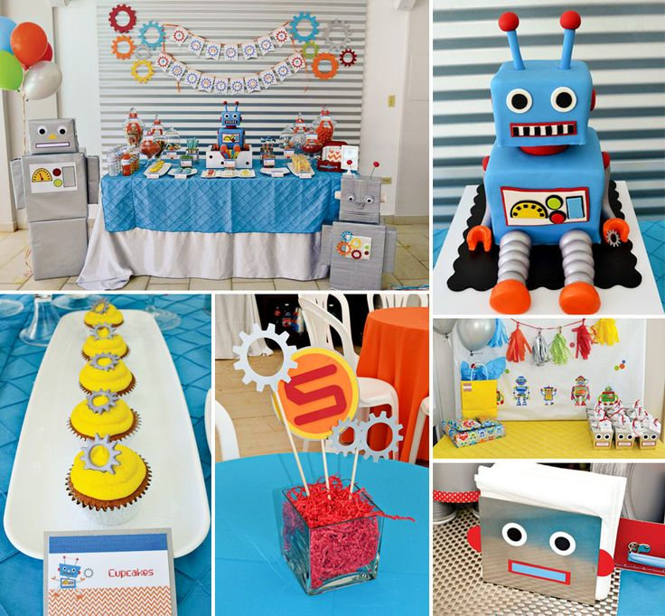 Is it just me, or are Robot Themed Parties the most CLEVER? Click to view more of this Creative, Colorful & CUTE Robot Birthday by Partylicious! #Robot #Party