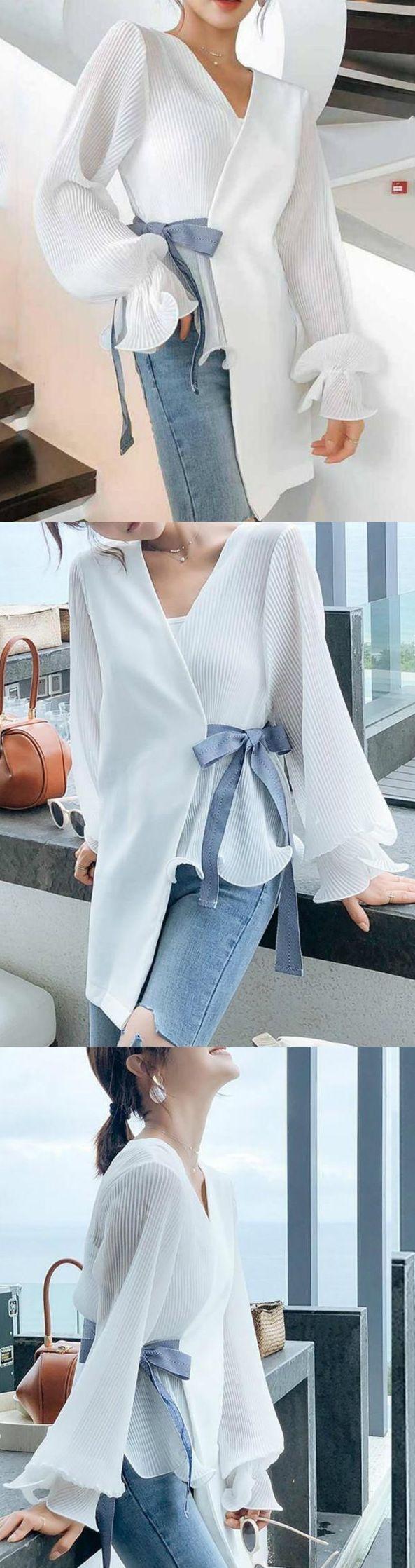 $39.65 Sale! SHOP NOW>>>Fashion V Neck Loose Long Sleeve Blouse