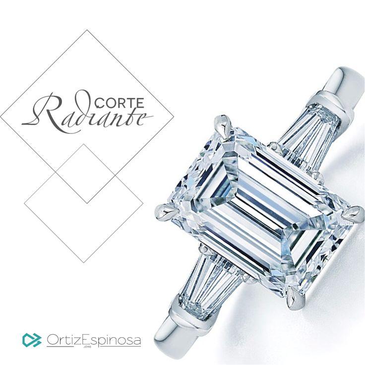 El corte Radiante en los diamantes fue creado originalmente en 1977 por Henry Grossbard, quién, luego de haber retenido una patente exclusiva por 17 años, les permitió a otros joyeros hacer ese corte. Este corte tiene entre 62 a 70 facetas debajo y sobre la corona del diamante, lo que le da un brillo extra. #OrtizEspinosa