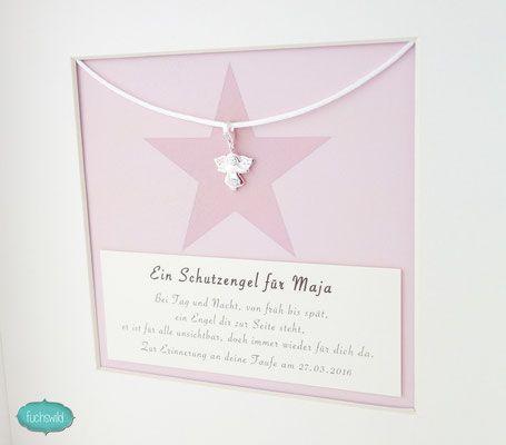 Engel Anhänger zur Geburt, Schutzengel Bild mit Schutzengel Anhänger silber, Babygeschenke, Engel Charm Gesicht Stern rosa 4