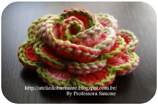 CREATIVITA' ORGANIZZATA: Immagine Rosa a uncinetto BICOLORE Fare ultimo giro con colore differente