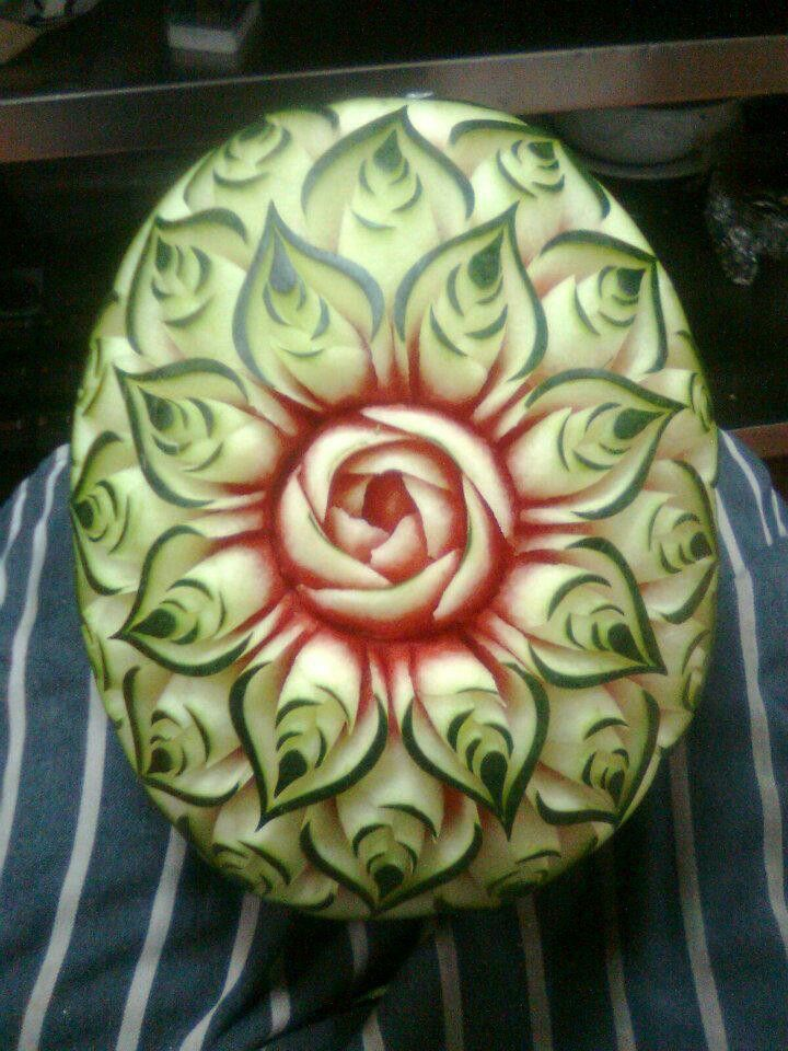 Best FRUITS VEGETABLES CARVING Watermelonpumpkinhoneydew - Incredible sculptures carved watermelon
