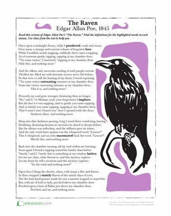 Worksheets: The Raven