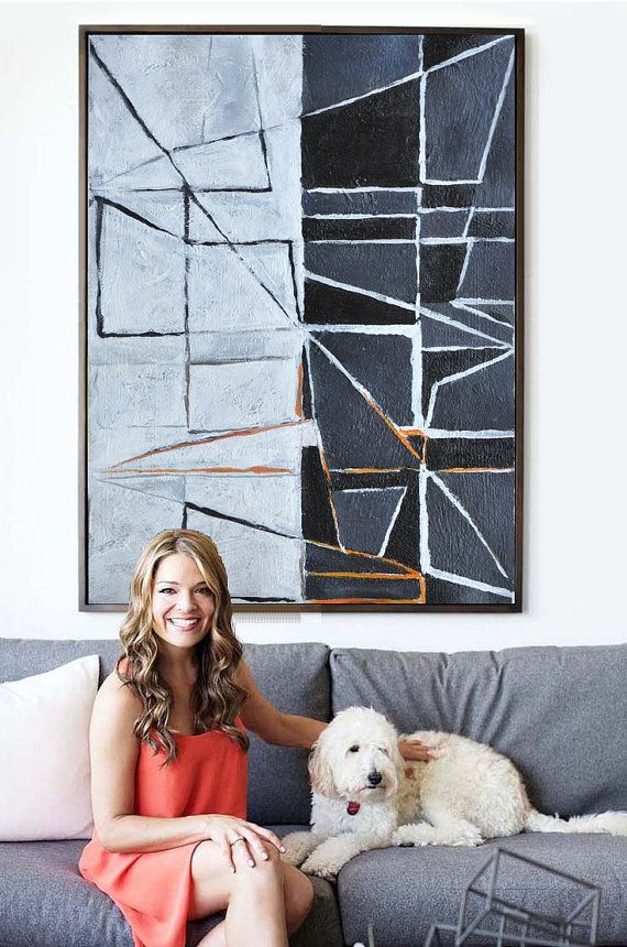 Large Painting Minimalist Art, Hand Painted Contemporary Art Abstract Painting, Geometric Art. Black White Orange Grey.