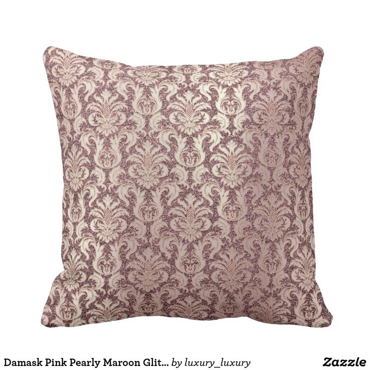 Damask Pink Pearly Maroon Glitter Pearly Floral Cushion