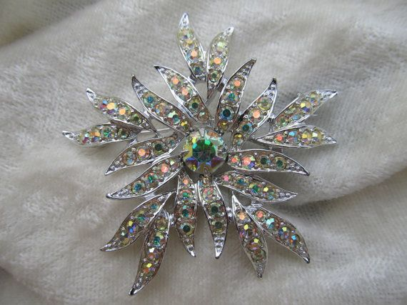 SARAH COVENTRY Iridescent Rhinestone Pin. Undated, But Likely 1970s. Owned.