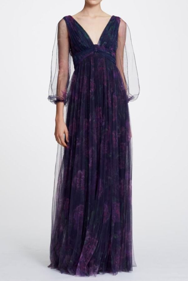 b8484dbb Marchesa Notte N30G0848 Navy Bishop Sleeve Pleated Printed Floral Gown |  Poshare
