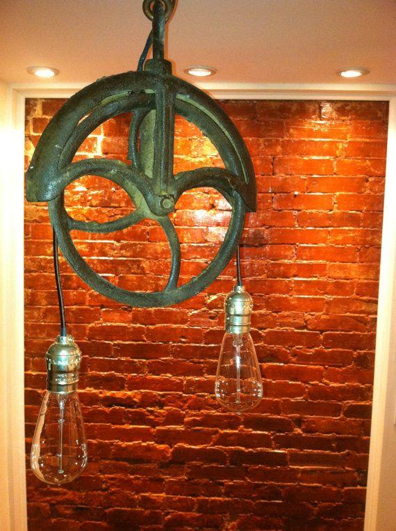Repurposed farm wellwheel industrial light by WestNinthVintage, $125.00