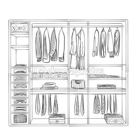 Kleiderschrank gezeichnet  106 besten indretnings tegninger Bilder auf Pinterest   Skizzen ...