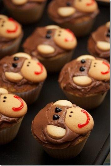 cute monkey cupcakes for kids: Monkey Cake, Birthday, Sweet, Monkey Cupcakes, Cup Cake, Sock Monkey, Party Ideas, Baby Shower, Dessert