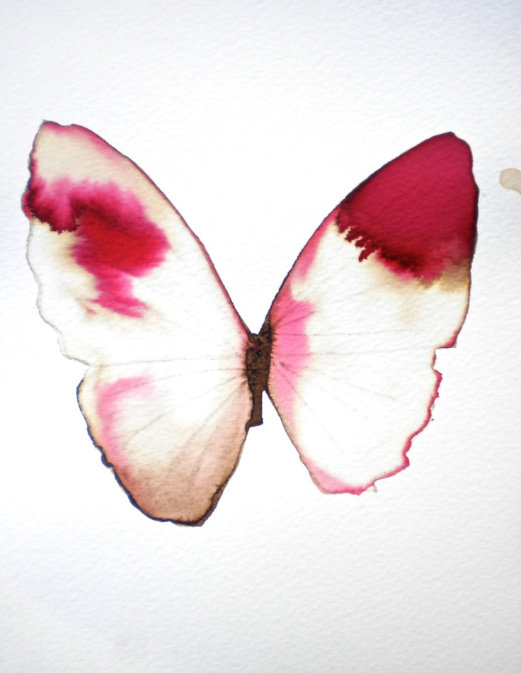 white gold and pink butterfly with red tipped wings. original watercolour on paper.. £20.00, via Etsy.