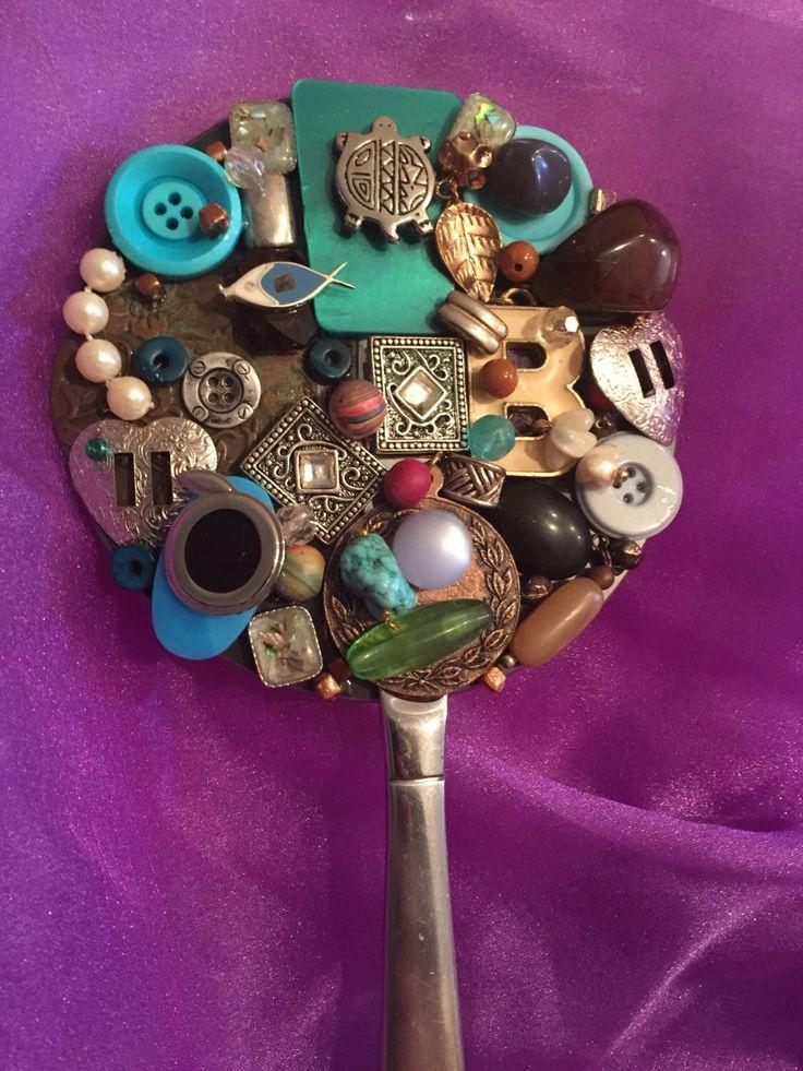 Upcycled vintage jewelry hand held mirror retro Southwestern