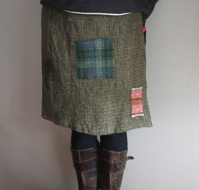 Upcycled wool apron