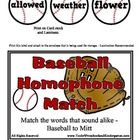 Baseball Homophone Match - Over 60 Sets of words  This is a huge set .... large mitts have words and the matching baseballs have words..... these w...