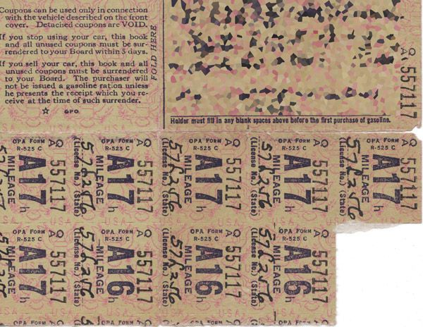 War ration stamps: WWII (1942)