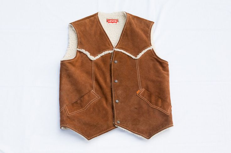 Vintage Levi's Levis Suede Leather Vest - Furry Lining - Size Tagged M - Great Brown Color - Worn and Handsome Look - Quality Garment by DiademVintageVisuals on Etsy https://www.etsy.com/listing/262826905/vintage-levis-levis-suede-leather-vest