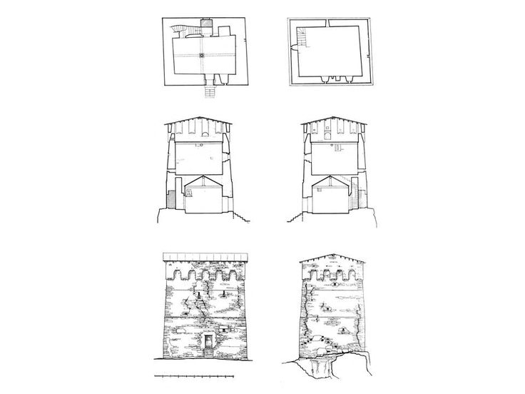 Svaneti towers complex of fortified houses drawing of for Fortified home plans