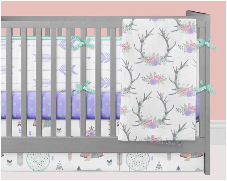Woodland Crib Bedding Girl, Teepee Tipi Nursery Bedding Baby Crib Set, Floral Antlers Dream Catchers Arrows Hearts Mint Purple Peach Coral by modifiedtot on Etsy https://www.etsy.com/listing/467219712/woodland-crib-bedding-girl-teepee-tipi