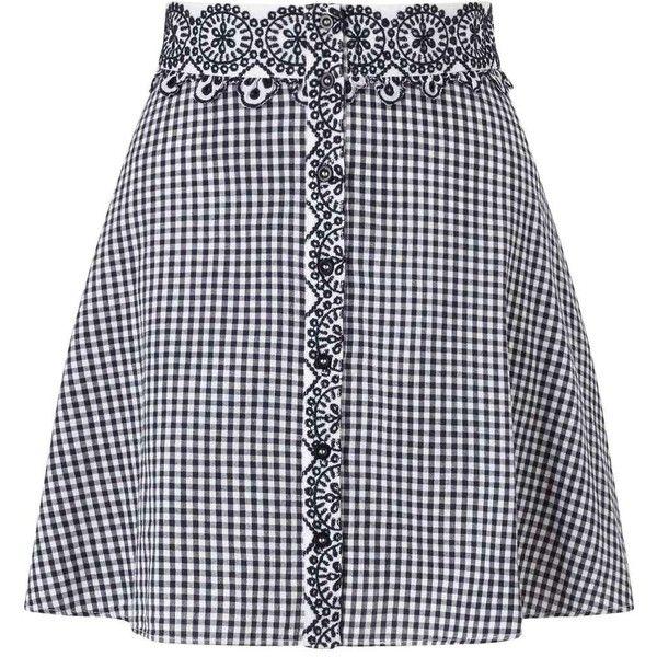 Miss Selfridge PETITE Gingham Skirt ($60) ❤ liked on Polyvore featuring skirts, bottoms, black, petite, miss selfridge, gingham skirt, petite skirts and miss selfridge skirts