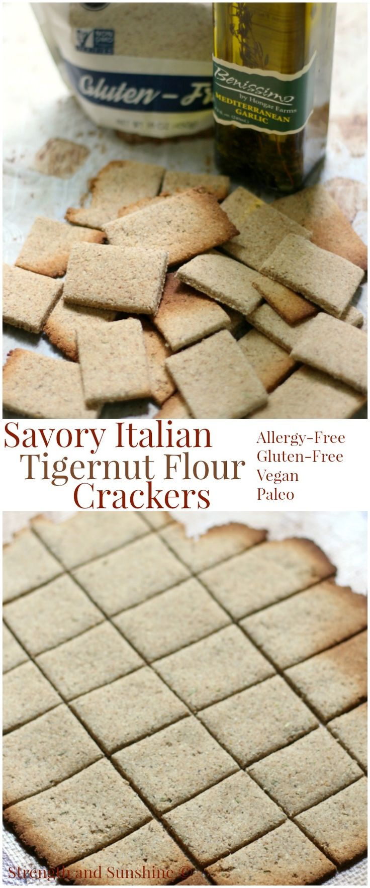 Savory Italian Tigernut Flour Crackers (Gluten-Free, Vegan, Paleo)   Strength and Sunshine @RebeccaGF666 A healthy and delicious grain-free snack! Savory Italian Tigernut Flour Crackers, easy and homemade, baked in the oven, and gluten-free, vegan, paleo, and allergy-free! They are perfect for an everyday snack or a fancy addition to an appetizer platter!