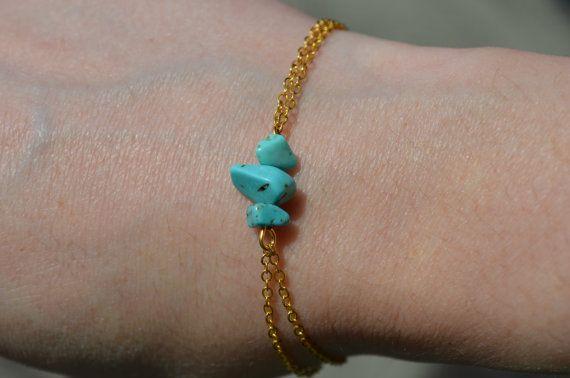 Turquoise Bracelet Dainty Gold Chain Bracelet Birthstone Jewelry 3 Stone Crystal…