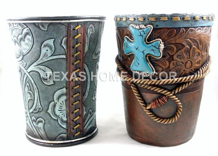 western waste baskets rope turquoise cross faux leather look rustic decor - Western Bathroom Accessories Rustic